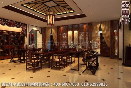 公装设计-红木家具商场展厅中式装修-餐厅展区装修效果图
