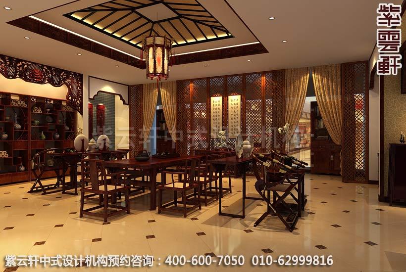 公裝設計-紅木家具商場展廳中式裝修-餐廳展區裝修效果圖