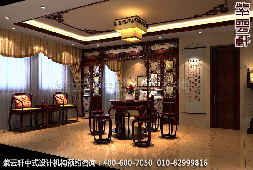 公裝設計-紅木家具商場展廳中式裝修-會客室展區裝修效果圖