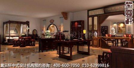 公装设计-红木家具商场展厅中式装修-书房和卧室展区装修效果图