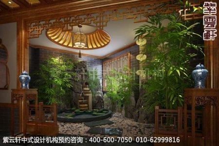 公装设计-休闲会所金华王总私人会所中式装修-流水池装修效果图