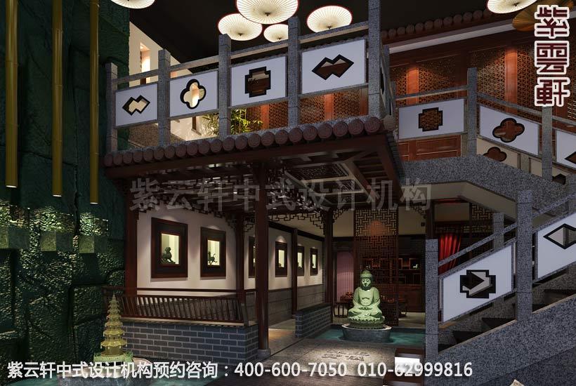 现代中式风格茶楼装-茶楼装修效果图_紫云轩中式设计