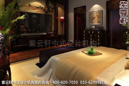 中式装修效果图,望景别墅卧室中式装修效果图,现代中式风格