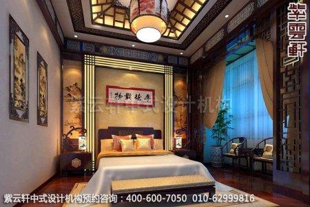 现代中式风格-复式楼中式装修效果图之卧室装修效果图