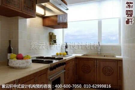 简约古典中式家装豪宅厨房中式装修效果图