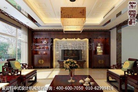 中式装修设计-典雅尊贵别墅客厅装修效果图