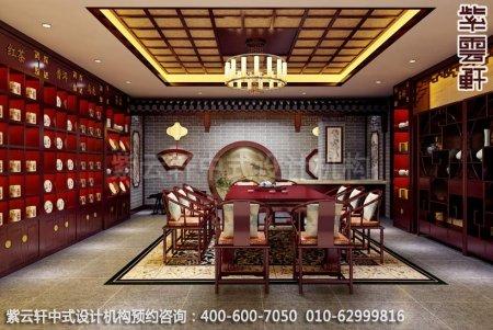 公装设计-茶楼茶茶馆-湛江茶会所大厅中式装修效果图