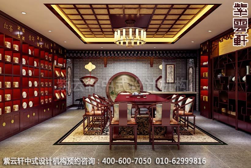 茶會所大廳中式裝修效果圖