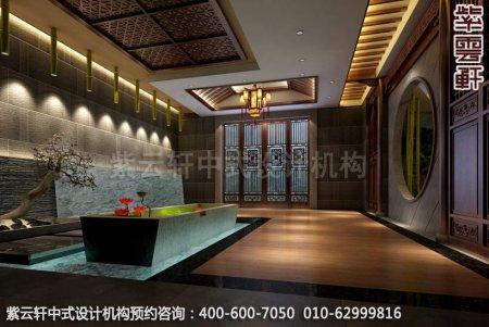 公装设计-足浴会所简约中式装修-南通足浴一楼大厅中式装修效果图