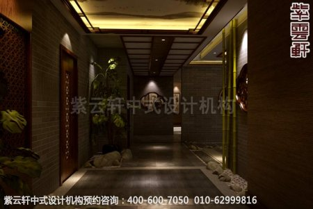 公装设计-足浴会所简约中式装修-南通足浴走廊中式装修效果图