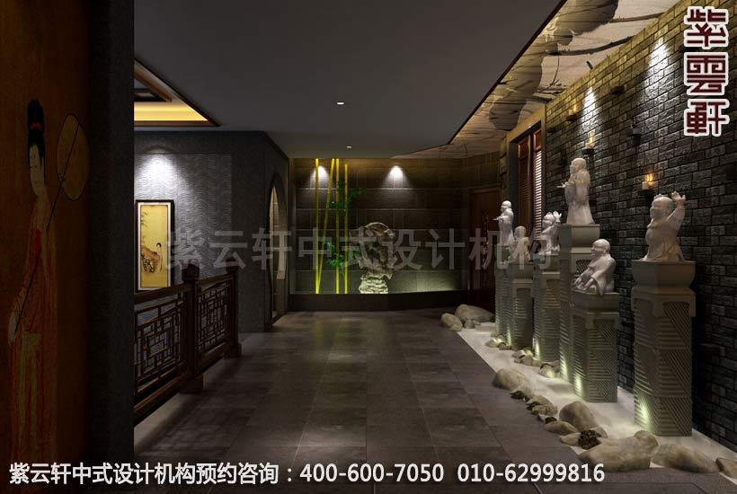 公装设计-足浴会所简约中式装修-南通足浴走廊中式装修效果图图片