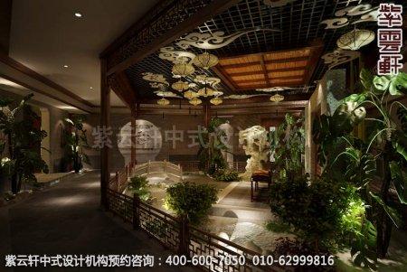 公装设计-足浴会所简约中式装修-南通足浴造景区中式装修效果图