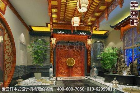 公装设计-休闲会所-扬州尤先生私人会所电梯间中式装修效果图