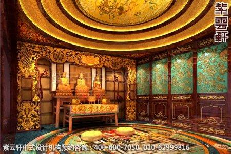 古典中式装修设计-豪华住宅佛堂中式装修效果图