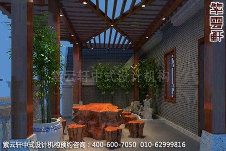 古典中式装修设计-豪华住宅阳台中式装修效果图