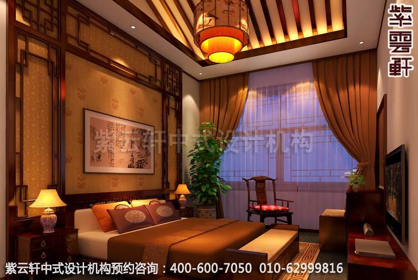 中式家装幽静古雅之情-精品住宅中式装修之卧室装修效果图图片