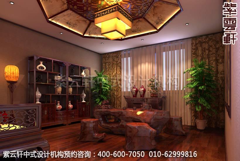 新中式风格设计-别墅中式装修之茶室装修效果图