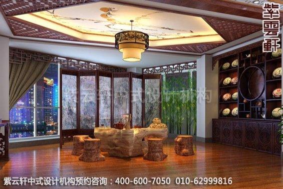 木质清香萦绕,休闲会所中式装修之茶室装修效果图