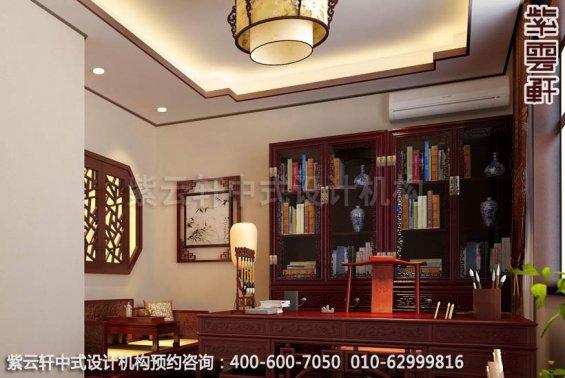 别墅装修装修效果图-现代中式设计-书房中式装修效果图