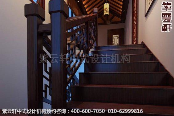 带有清隽气势,古典别墅设计中式装修效果图-楼梯间中式装修效果