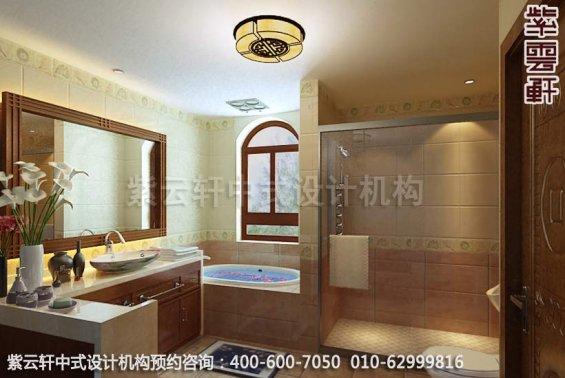 带有清隽气势,古典别墅设计中式装修效果图-卫生间中式装修效果