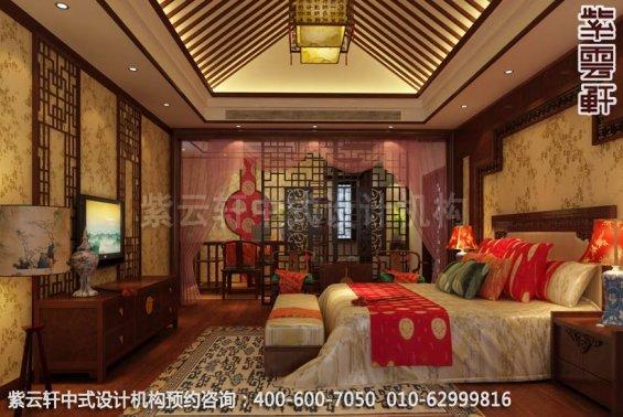 带有清隽气势,古典别墅设计中式装修效果图-主卧室中式装修效果