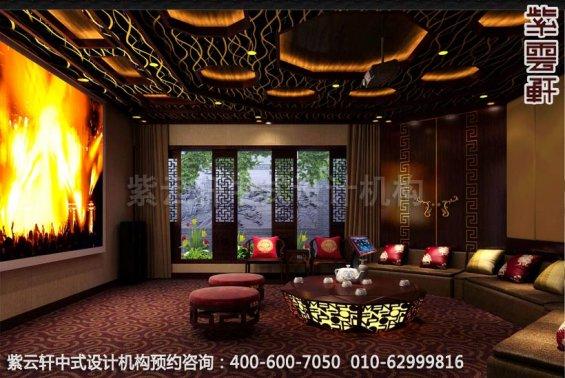 现代中式风格别墅设计-惬意半闲豪宅中式装修-影音室中式装修效果