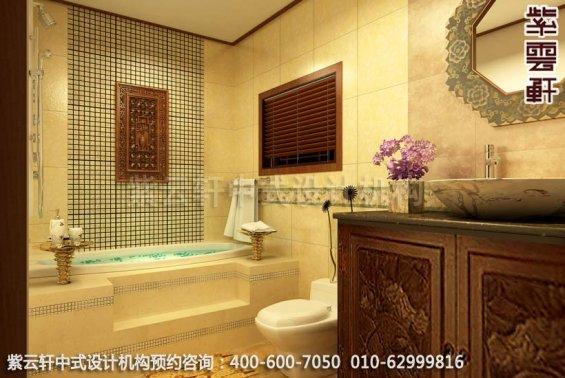 文艺腔调简约中式家装设计效果图-卫生间中式装修效果图