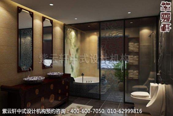 精品中式顶楼设计装修,住宅中式装修效果图-卫生间中式装修效果