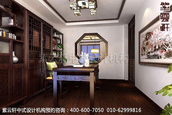 温婉豪华-精品住宅中式风格装修-书房中式装修效果图