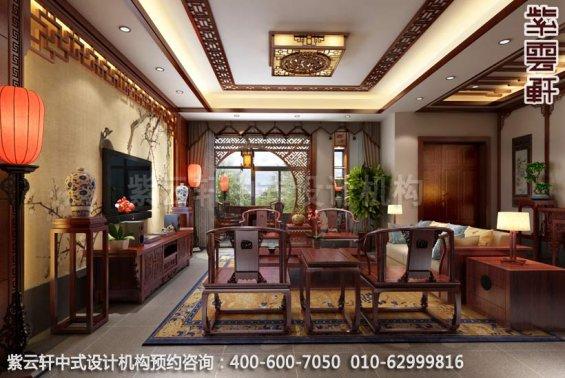 苏州昆山锦溪朱先生客厅中式装修效果图