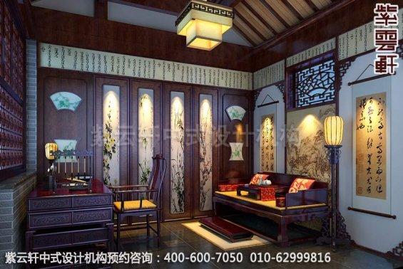书房中式装修效果图,稳固古典氛围-简约中式家装住宅效果图