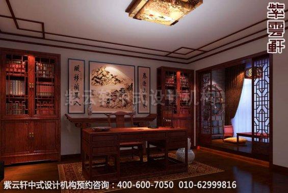 书房中式装修效果图-古韵悠长秀美-家装中式装修效果图
