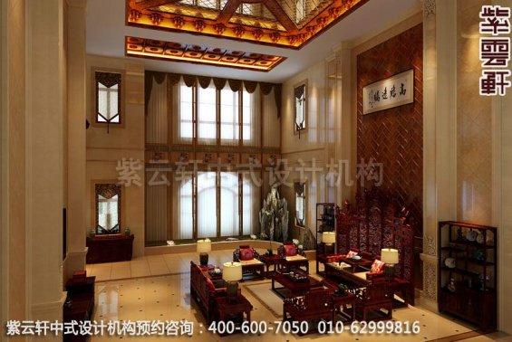 大客厅中式装修效果图-廊坊现代中式风格别墅装修效果图
