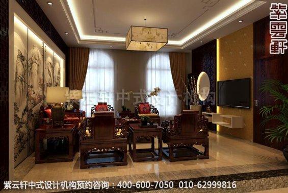 二楼小客厅中式装修效果图-廊坊现代中式风格别墅装修效果图