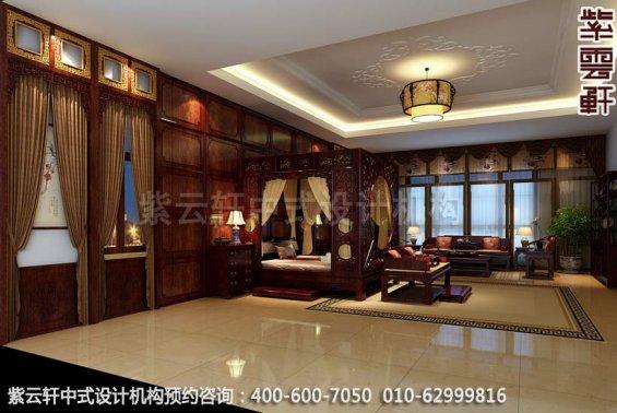 卧室中式装修效果图-廊坊现代中式风格别墅装修效果图