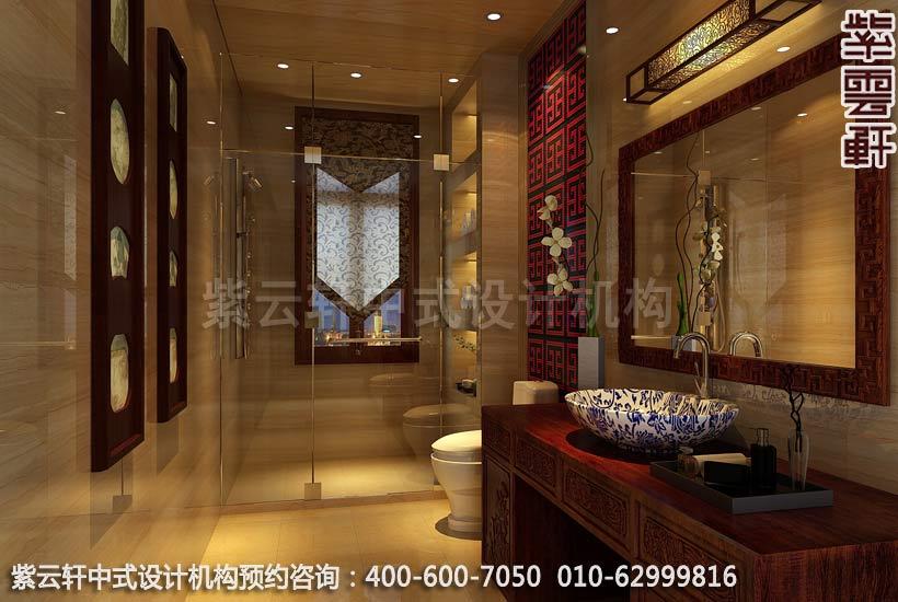 卫生间中式装修效果图-廊坊现代中式风格别墅装修