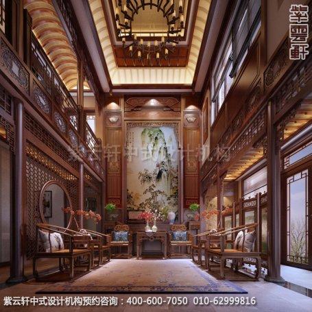 别墅中堂中式装修效果图-南京别墅古典中式风格装修