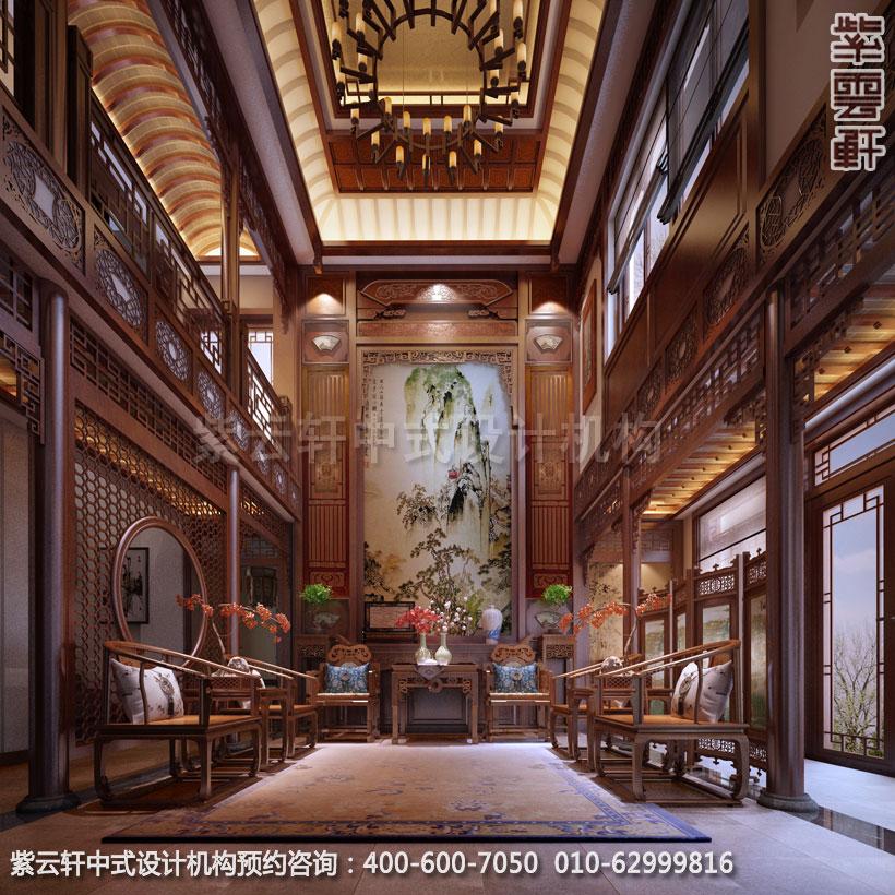别墅中堂中式装修效果图-南京别墅古典中式风格装修图片