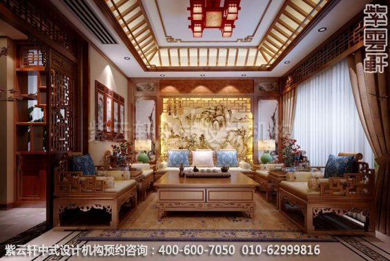 别墅客厅中式装修效果图-南京别墅古典中式风格装修效果图