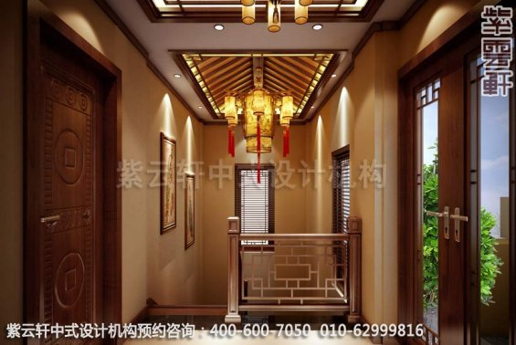 别墅过道中式装修效果图-南京别墅古典中式风格装修效果图