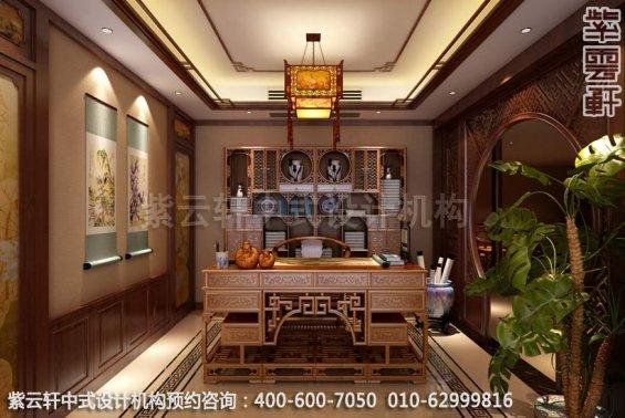 别墅书房中式装修效果图-南京别墅古典中式风格装修效果图