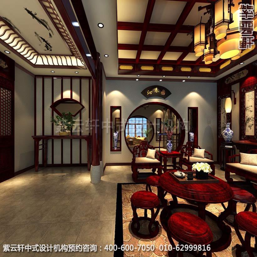 玄关中式装修效果图-金科王府简约中式设计效果图