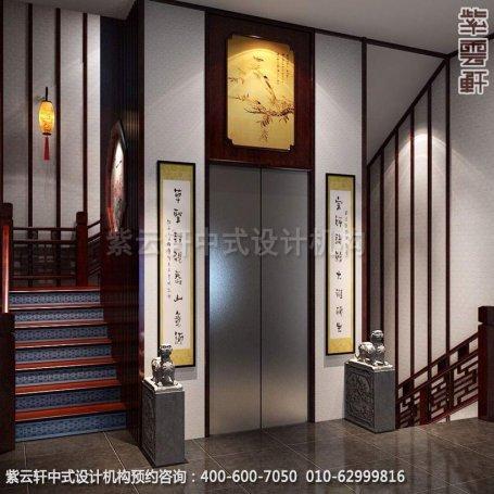 电梯口中式装修效果图-金科王府简约中式设计效果图