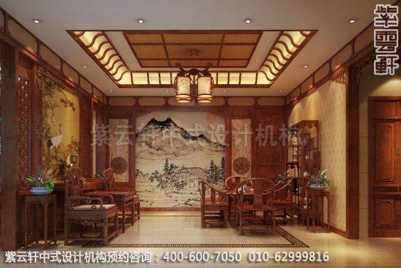 门厅中式装修效果图_重庆高尔夫别墅简约古典中式风格
