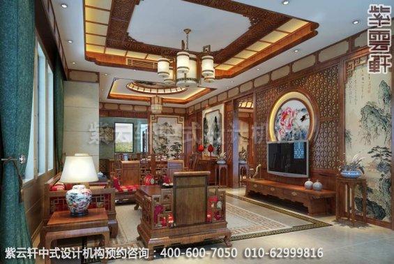 客厅中式装修效果图_重庆高尔夫别墅简约古典中式