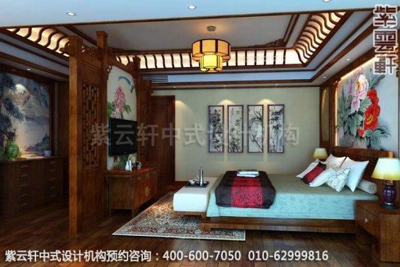 别墅主卧室中式装修效果图_重庆某别墅简约古典中式风格