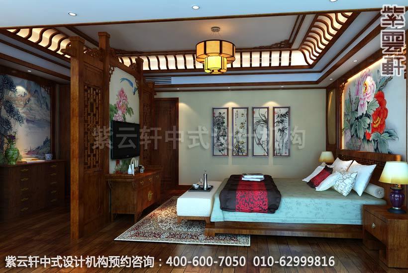 别墅主卧室中式装修效果图