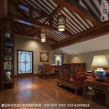 别墅主卧室书房中式装修效果图_重庆某别墅简约古典中式风格
