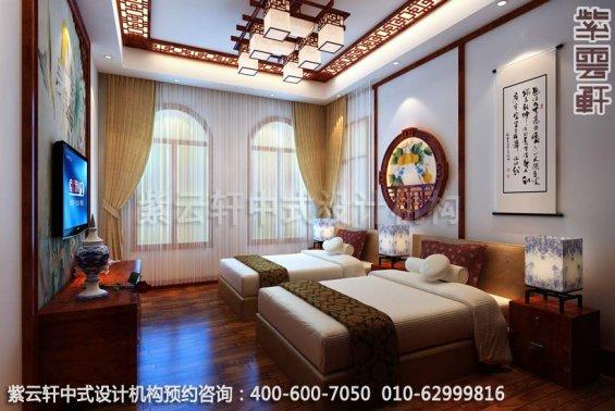 别墅卧室中式装修效果图_重庆某别墅简约古典中式风格